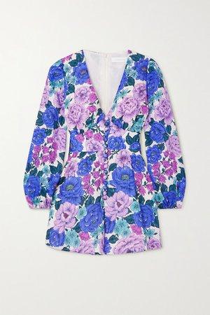 Poppy Floral-print Linen Playsuit - Lilac