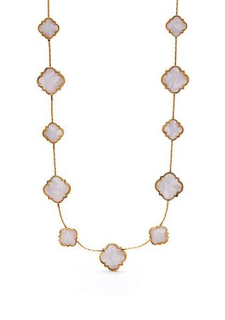 Crown & Ivy™ Gold Tone Quatrefoil Collar Necklace
