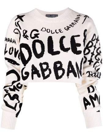 Shop Dolce & Gabbana logo-print cropped jumper with Express Delivery - FARFETCH