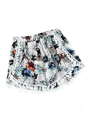 SweatyRocks Women's Vintage Printed Beach Pants High Waist Summer Boho Shorts Flower Print | Amazon.com