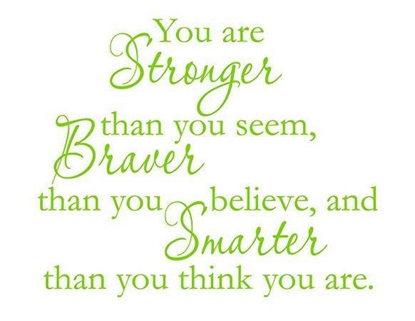 Vinyl Say vs-yas01-limegreen-sm You Are Stronger Than You Seem, Braver Thank You Believe, And Smarter Than You Think You Are Wall Quotes, Light Pink - Decorative Wall Appliques - Amazon.com