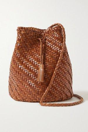 Pom Pom Double Jump Woven Leather Bucket Bag - Tan