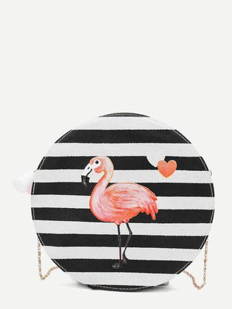Striped Detail Flamingos Print Chain Bag