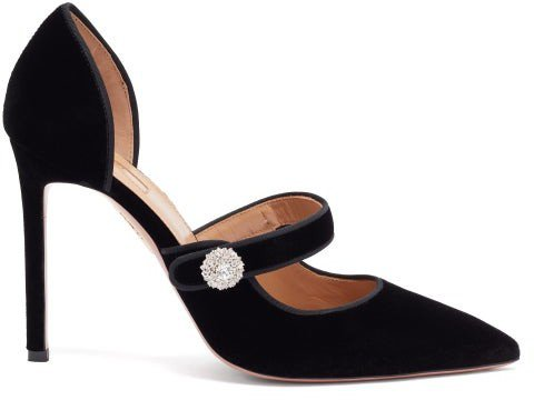 Astor 105 Crystal-embellished Velvet Pumps - Black