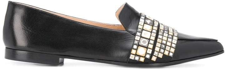 Embellished Pointed-Toe Loafers