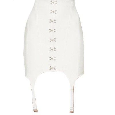 DION LEE White Corset Garter Miniskirt