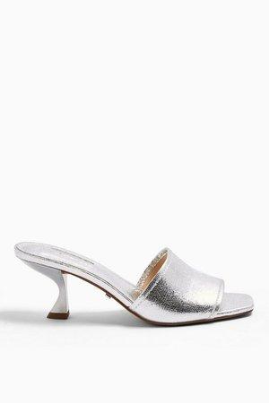NUTMEG Silver Flare Heel Mules | Topshop