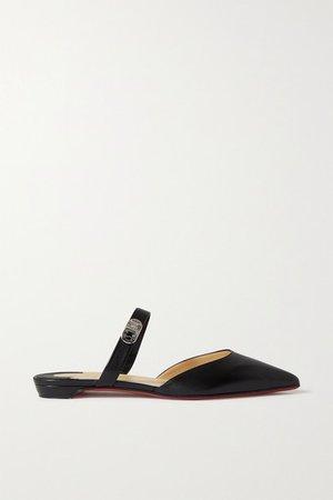 Choc Lock Leather Point-toe Flats - Black