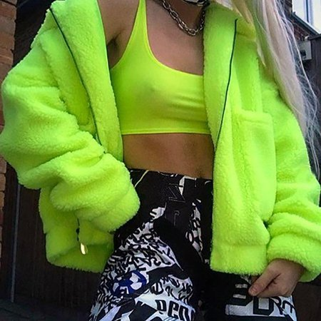 neon green fluffy jacket - Google Search