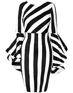 Amazon.com: Women's Costume Elegant Dresses Plus Size Striped Crew Neck Ruffles Long Sleeve Bodycon Midi Party Dress: Clothing