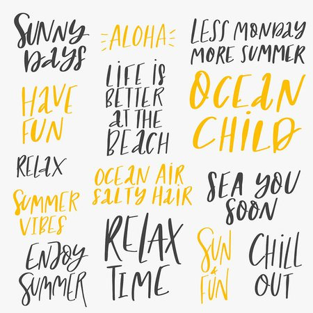 Summer Vacation Lettering Set Art Print by Nerudol
