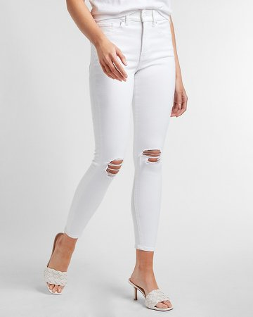 Mid Rise White Ripped Skinny Jeans