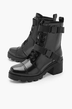 Buckle Strap Chunky Hiker Boots | boohoo