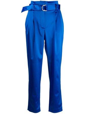 P.a.r.o.s.h. Satin High-Waisted Trousers ALICED230434 Blue | Farfetch