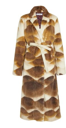 Saks Potts Chocolate Wave Printed Mink Coat