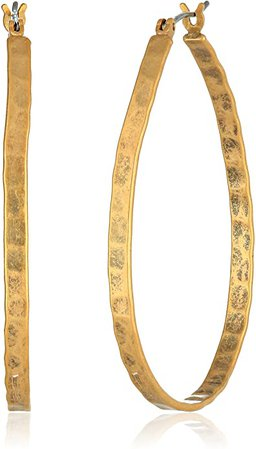 Amazon.com: Lucky Brand Medium Gold-Tone Oblong Hoop Earrings: Earrings For Women: Jewelry