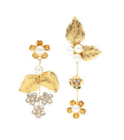 Asymmetric floral earrings