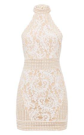 White High Neck Lace Crochet Bodycon Dress   PrettyLittleThing USA
