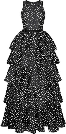 Rasario Belted Polka-Dot Silk Organza Tiered Gown