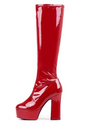 KNEE HIGH RED PLATFORM BOOTS