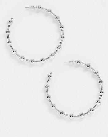 Liars & Lovers ball hoop earrings in silver   ASOS