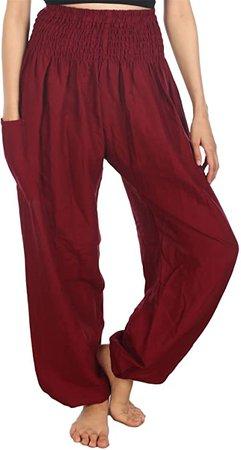 Amazon.com: LOFBAZ Harem Pants for Women Yoga Boho Hippie Clothing Womens Palazzo Bohemian Pajama Beach Indian Gypsy Genie Clothes Peacock 1 Burgundy S: Clothing
