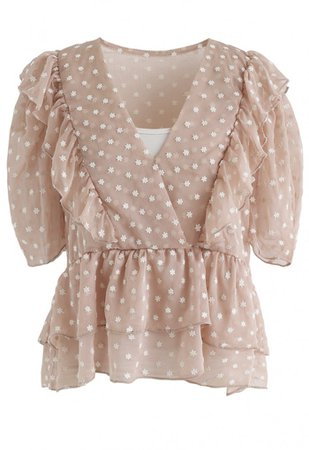 Floret Embroidery Ruffle Sheer Top in Nude Pink - NEW ARRIVALS - Retro, Indie and Unique Fashion