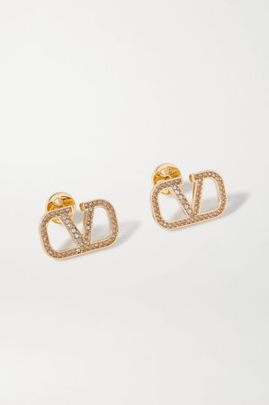 Gold Gold-tone crystal earrings | Valentino | NET-A-PORTER