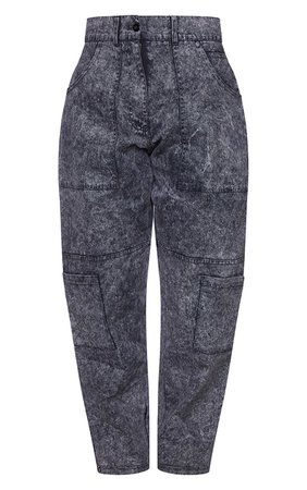 Charcoal Twill Acid Wash Cargo Trousers   PrettyLittleThing USA