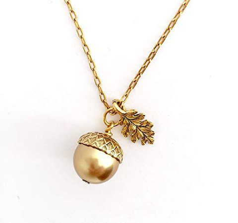 Amazon.com: Gold Brass Acorn Pendant Necklace - Etched Leaf Charm - 20 Inch Chain: Handmade