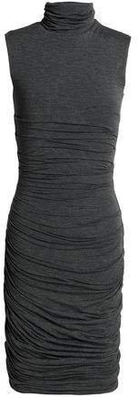 Ruched Melange Stretch-jersey Turtleneck Dress
