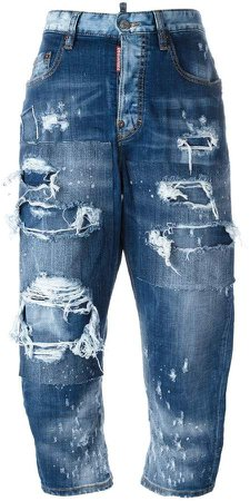 Kawaii distressed patchwork jeans