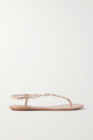 Cecile Embellished Leather Sandals - Neutral