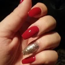 red and gold nails - Google Search