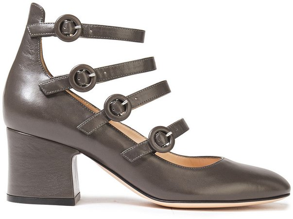 Dora Buckled Leather Mary Jane Pumps