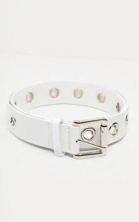 White Eyelet Belt | Accessories | PrettyLittleThing