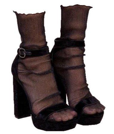 black mesh socks with heels