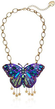 Betsey Johnson Butterfly Pendant Necklace, Purple, One Size: Jewelry