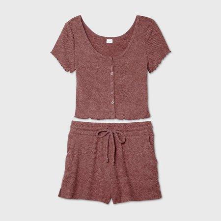Women's Cozy Rib-Knit Short Sleeve Pajama Set - Colsie™ : Target
