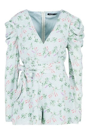 Floral Puff Sleeve Wrap Front Playsuit | Boohoo