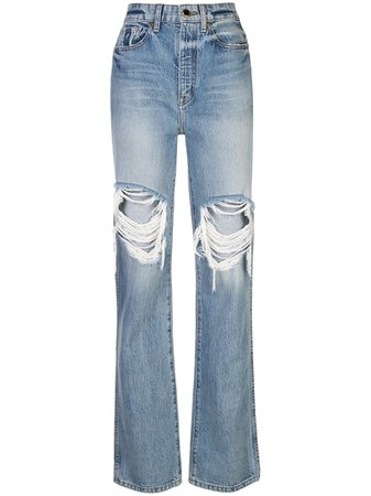 Khaite High-Waisted Distressed Jeans