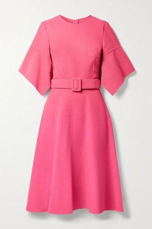 Belted Wool-blend Gauze Dress - Pink