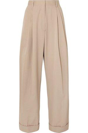 Dries Van Noten | Pleated cotton-poplin wide-leg pants | NET-A-PORTER.COM