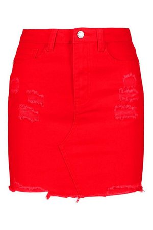 Red Distressed Denim Mini Skirt | boohoo