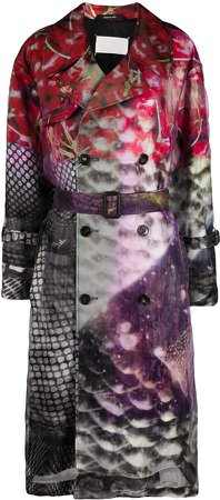 Abstract Printed Trench Coat