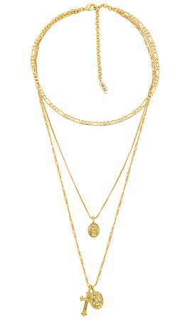 Luv AJ x SABO LUXE The Isidore Cross Charm Necklace in Antique Gold | REVOLVE