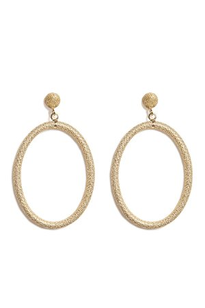 18K Gold Gitane Sparkly Oval Earrings Gr. One Size