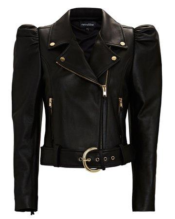Retrofête Tai Puff Sleeve Leather Jacket   INTERMIX®