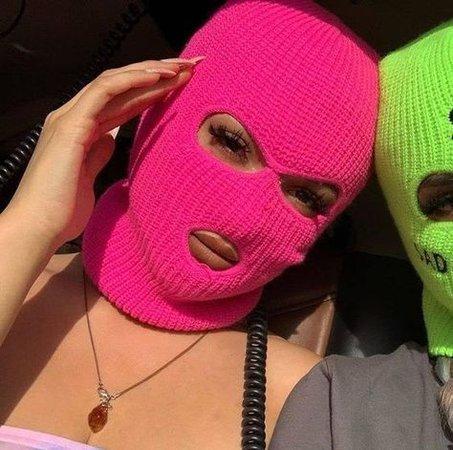 neon pink ski mask