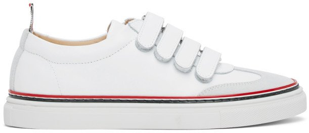 White Strap Low-Top Trainers